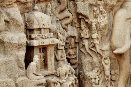 mahabalipuram: Arjunas Penance - Descent of the Ganges, Bas-relief in Mahabalipuram, India