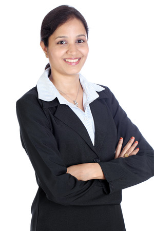 Young happy Indian business woman with arms crossed  photo