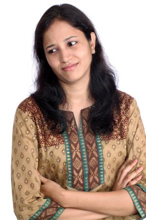 indianen: Jonge vrouw benadrukt  Stockfoto