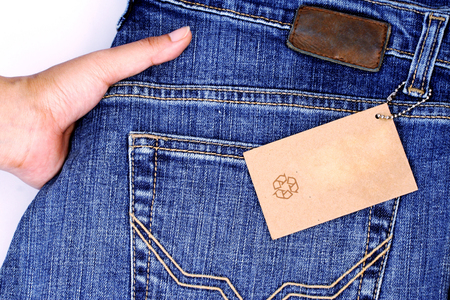 stitched: Closeup of Price tag over the jean