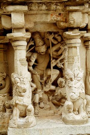 Intricate sculptures at Kailasanathar temple in Kanchipuram, India  photo