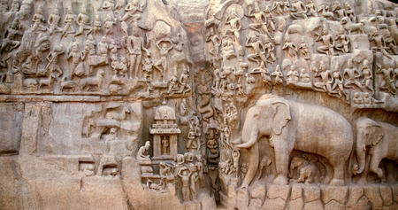 penance: Arjunas Penance - Descent of the Ganges, Mahabalipuram, India