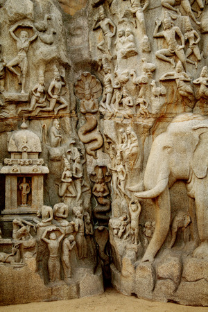 penance: Arjunas Penance - Descent of the Ganges; Bas-relief in Mahabalipuram; India