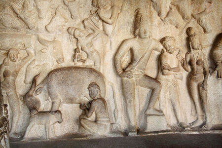 mahabharata: Krishna Mandapum, Bas-relief in Mammallapuram, India Stock Photo