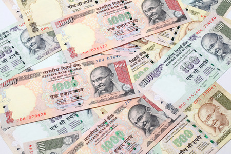 Indian rupee hundred, fivehundered and thousand notes