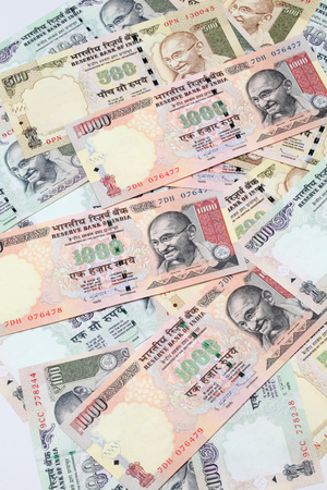 Indian rupee hundred, five hundred and thousands  bank notes  photo