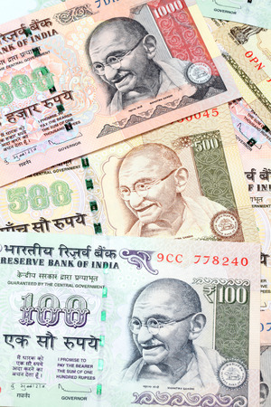 subcontinent: Hundred, fivehundred, and thousand ndian Rupee bank notes