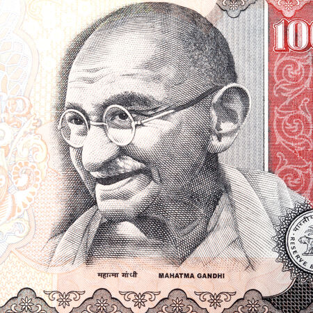 Great: Close up of gandhi on Indian currency Stock Photo