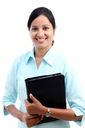 black woman face: Happy young business woman with tablet Stock Photo