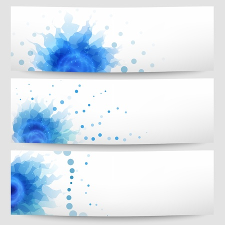 Set of three abstract white-blue banners Illustration