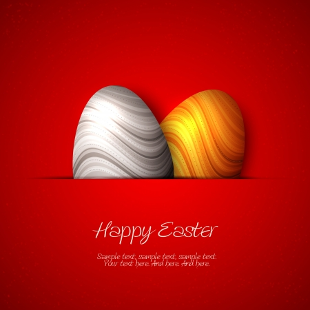 Happy Easter card - silver and golden eggs