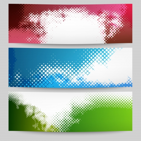 Set of halftone banners Illustration