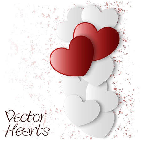 illustration of realistic red and white hearts
