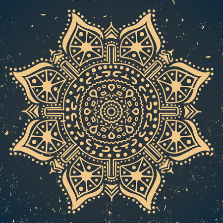Vintage ornament on dark blue background, vector illustration Illustration