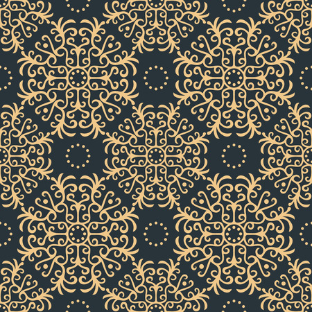 Vintage seamless pattern on dark background, vector illustration