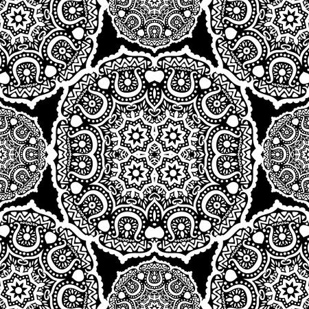 Nahtlose Ornament auf schwarzem Hintergrund, Vektor-Illustration