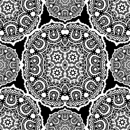 Seamless ornament on black background, vector illustration