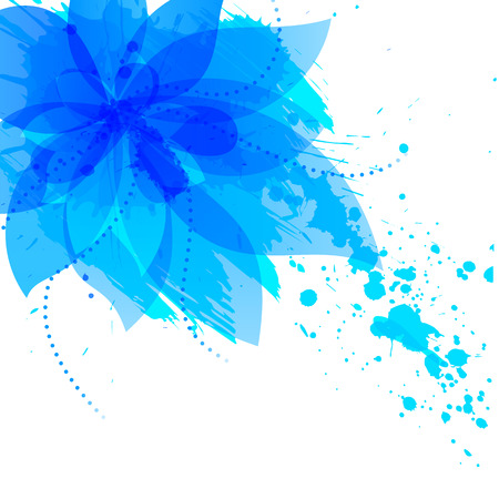 Abstract flower with blue blots, vector illlustration
