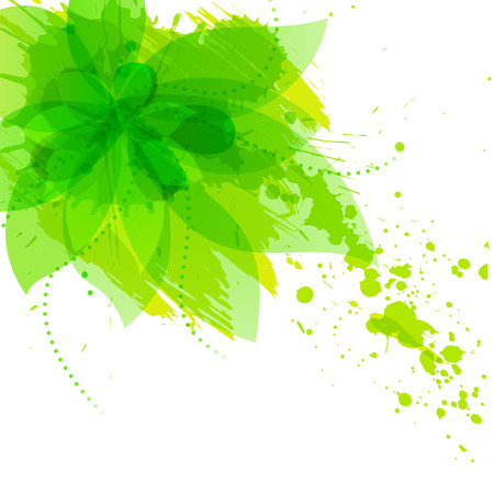 Abstract flower with green blots, vector illlustration Illustration