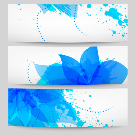 Set of three vector floral white-blue banners