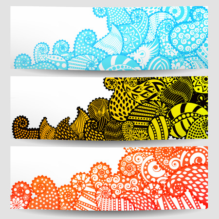 Set of three ornamental banners, vector illustration Illustration