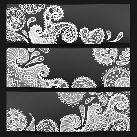 Set of three black-white banners, vector illustration Illustration