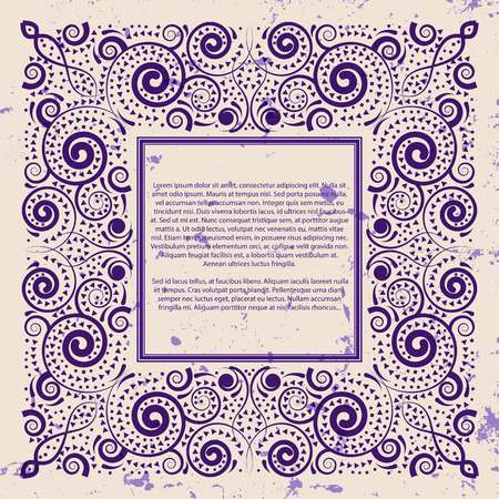 Violet frame on grunge background, vector illustration