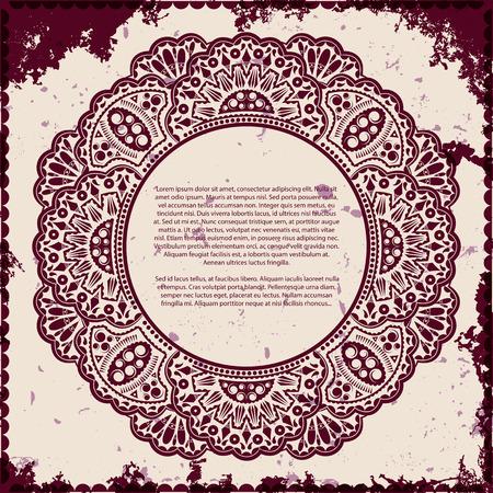 Lace frame on grunge background, vector illustration