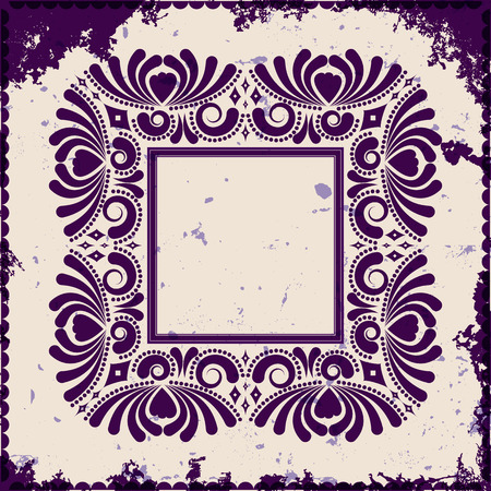 Vintage frame on grunge background, vector illustration