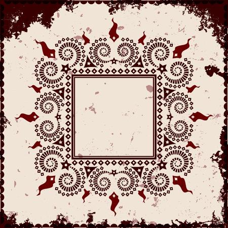 Square frame on grunge background, vector illustration
