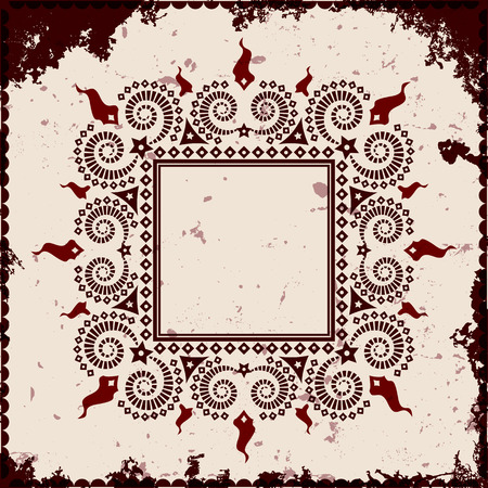 Square frame on grunge background, vector illustration
