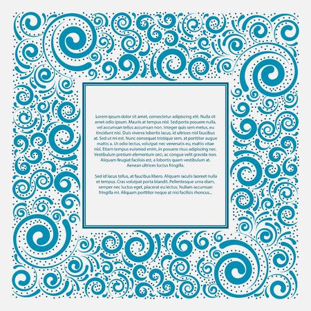 Blue square frame, vector illustration Illustration