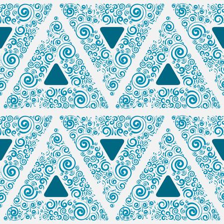 Blaue nahtlose Verzierung f�r Tapeten, Vektor-Illustration