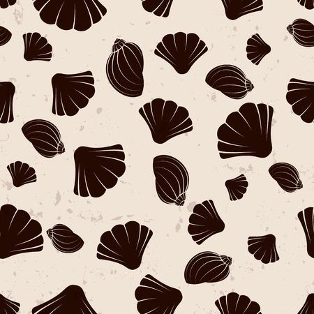cockle: Brown seashells on grange background, vector illustration Illustration