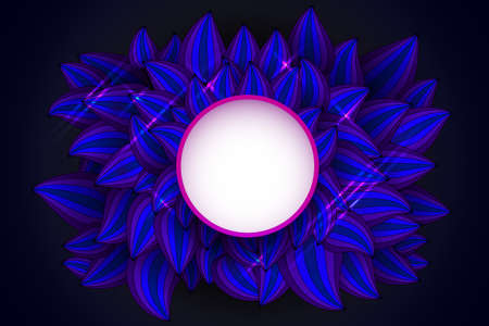 Ultra Violet Abstract Background with Leaves and Field for Text vector illustration.