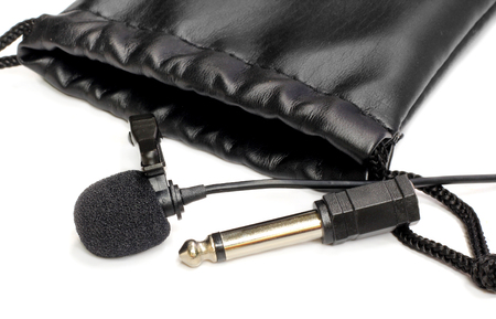 Black leather pouch bag with microphone