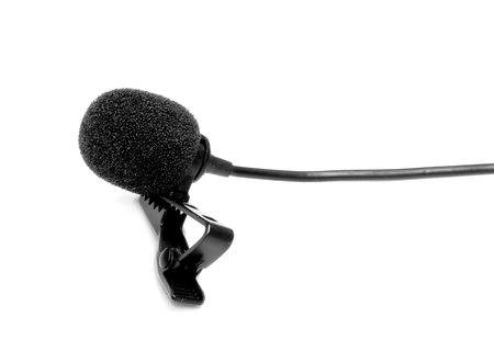 Microphone lapel or lavalier isolated on white background