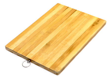 Wooden chopping block for butcher isolated over white background