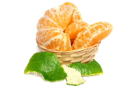 Fresh orange over white background Imagens