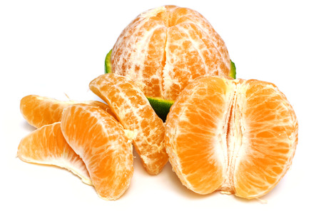 Fresh orange fruits over white background