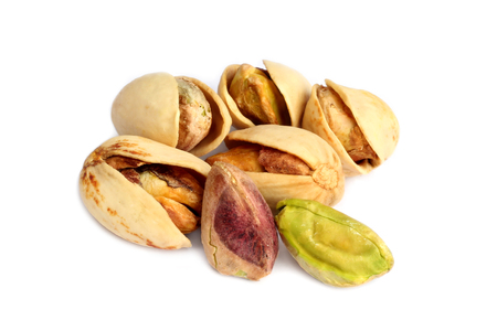 Pistachio nuts isolated on white background 写真素材