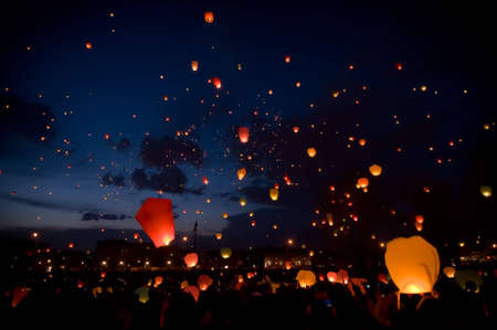 Big sky lanterns flying on christmas festival