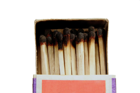 unavailability: box of burned matches   Stock Photo