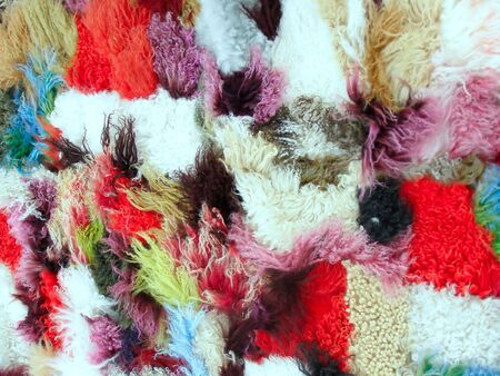 ovine: carpet from different colored pieces of wool