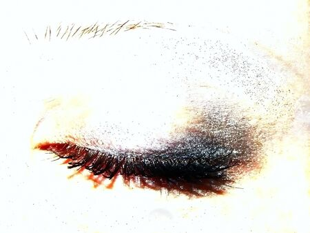 artistry: closed woman eye with eye shadow