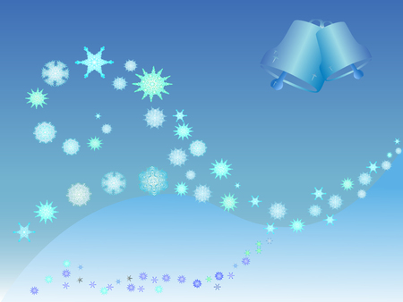 bell curve: vector christmas illustration of snowlakes and bells Illustration