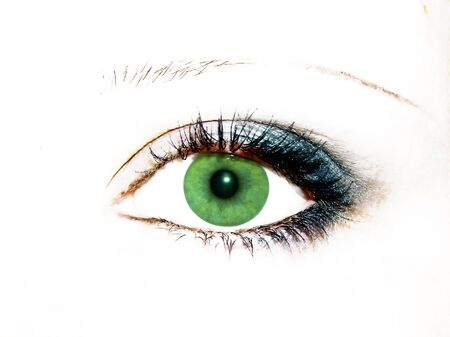 cilia: green women eye with evening blue make-up Stock Photo
