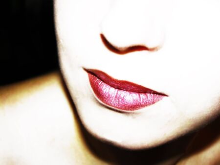 lustre: half woman face with redclored lips