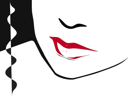 half woman face with red clored lips     Illustration