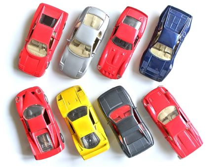 exemplar: parking of small model cars Stock Photo